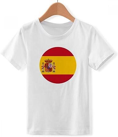 DIYthinker España Bandera Nacional Europeo configuración de símbolos de Cuello Redondo Camiseta para Chico: Amazon.es: Ropa y accesorios