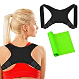 Posture Corrector for Women and Men + Stretching Bands, Adjustable Posture Brace - Clavicle Support for Upper Back Brace & Neck Pain Relief