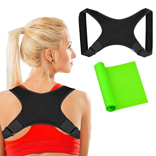 Posture Corrector for Women and Men + Stretching Bands, Adjustable Posture Brace - Clavicle Support for Upper Back Brace & Neck Pain Relief by W-family