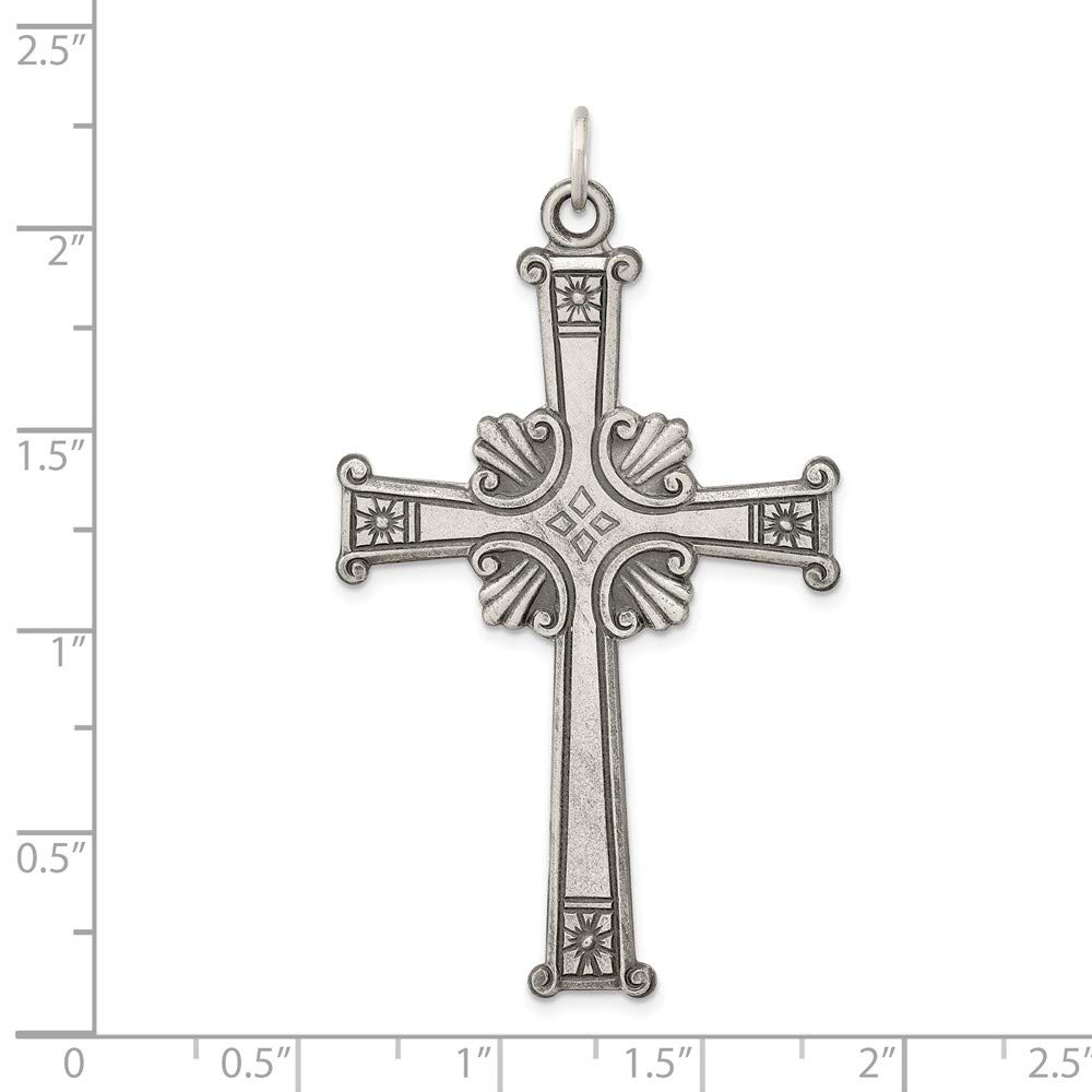 Solid 925 Sterling Silver Antiqued Cross Pendant 52mm x 32mm