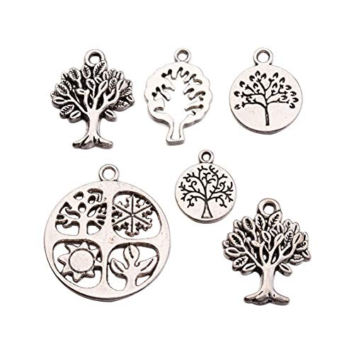 (Fashewelry 5 Sets(6pcs/Set) Tree of Life Antique Silver Tibetan Style Alloy Pendants Charms Set for DIY Bracelet Necklace Jewelry Making)