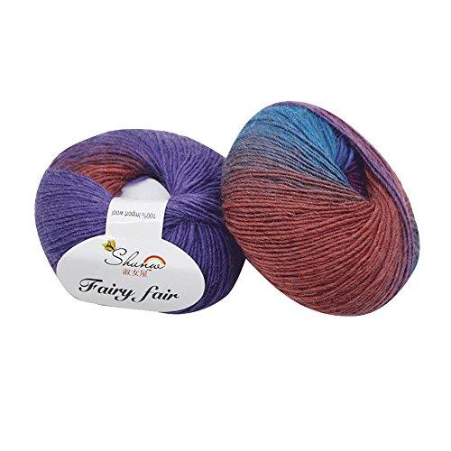 Clearance Sale! Yarns for Knitting Crochet Craft,KFSO Hand Knitting Knicker Yarn Crochet Soft Scarf Sweater Hat Yarn Knitwear Wool,Rainbow Color (I1)