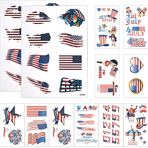Tattoo Flag American Eagle - Cosweet 12 Pcs American Flag Temporary Tattoo Best for 4th of July Party Supplies, Independence Day Patriotic Party Accessories