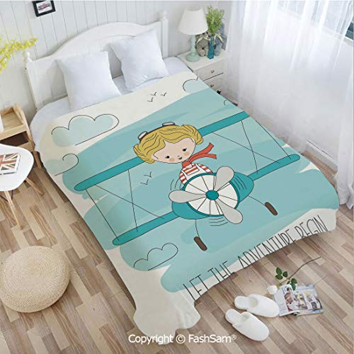 PUTIEN 3D Print Flannel Blanket Cute Girl Flying a Plane on Sky Cartoon Child Dream Imagination Sofa Blanket for - Skies Crimson Planes