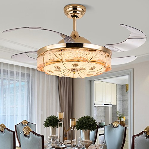 Yue Jia 42 Inch Promoting Natural Ventilation Invisible Fan Modern Luxury Dimmable (Warm/Daylight/Cool White) Chandelier Foldable Ceiling Fans With Lights Ceiling Fan for Room with Remote Control by YUEJIA (Image #3)