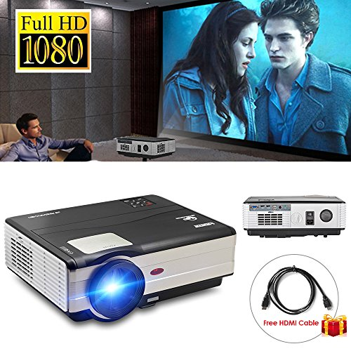 Video Projector 3500 Lumens, Home Theater Projector for Indoor Outdoor Video Games Movie, LCD LED Multimedia Projector Support 1080p HD USB VGA for PC Laptop Smartphone iPhone TV BOX With HDMI Cable by CAIWEI