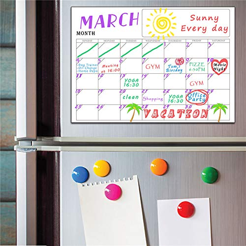 scenariohome Magnetic Month Week Dry Erase Planner Calendar Board PVC Refrigerator Wall Sticker Complete Set (2PCS/Set) 42x30cm