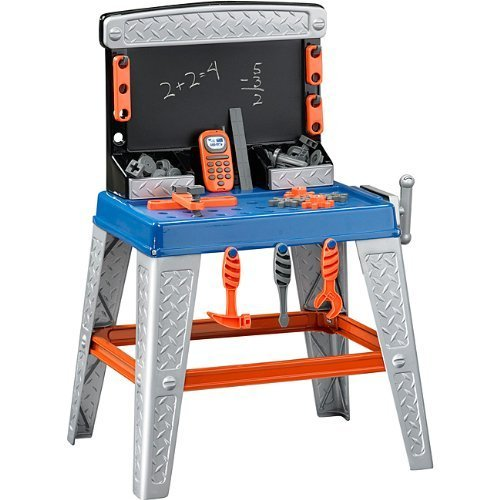 Kids or Toddlers Pretend Play Tool Set and Workbench With Chalkboard.35 Piece Set Includes Toy Screwdriver,Hammer,Wrench,Nails,Bolts,Nuts,Kids Toy Cell Phone,Ruler and more.Your Child Can Play at Home Indoors/Outdoors or Even in The Garage. by American (Pretend Play Garage)