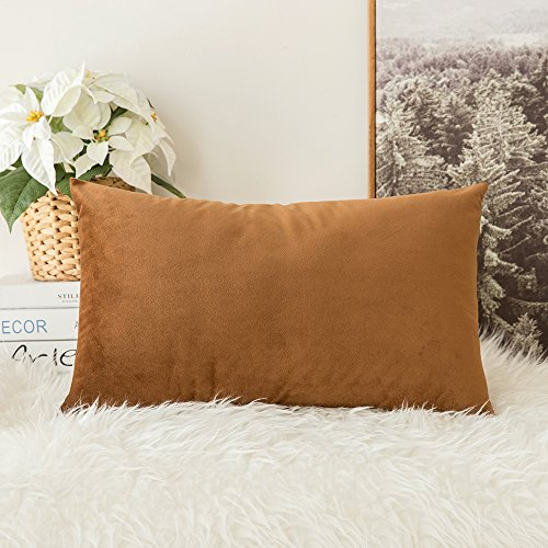 MIULEE Velvet Soft Soild Decorative Square Throw Pillow Covers Cushion Case for Sofa Bedroom Car 12 x 20 Inch 30 x 50 (30 Car Case)