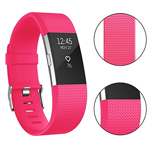 Vancle Fitbit Charge 2 Bands, Classic Edition Adjustable Comfortable Replacement Strap for Fit bit Charge 2 (No Tracker) (1PC (Fushia), Small)