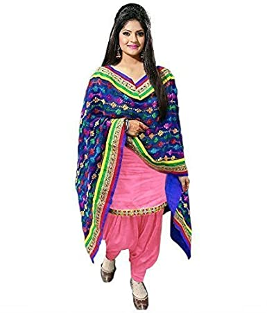 Gloxi Fashion Women's Cotton Dress Material (Pink,Free Size) Dress Material at amazon