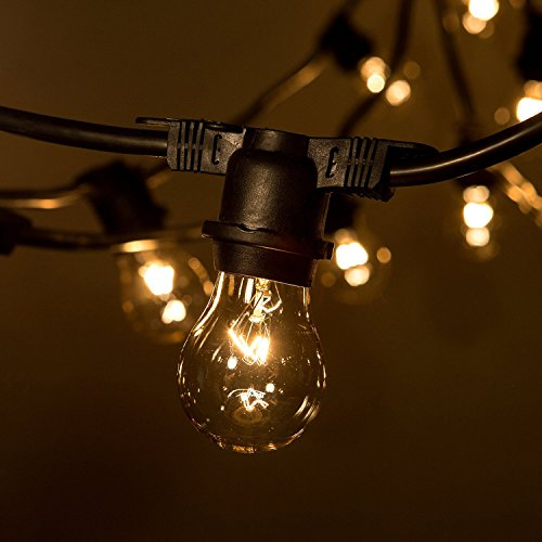 Weatherproof Outdoor String Lights, MKLOT Commercial Grade String Lights Heavy Duty Hanging 12 Feet Long with 5 Dropped Sockets Patio Lights for Gardens, Home, Party