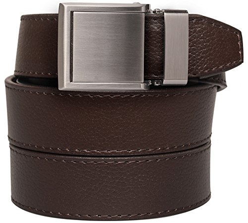 Animal-Friendly Mocha Brown Leather with Square Silver Buckle (Leather Square Buckle Belt)
