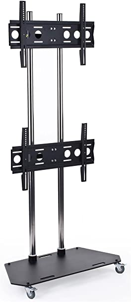 Dual Monitor Floor Stand With 2 Vesa Compatible Brackets Fits 42 To 60 Flat Screen Monitors Heavy Duty Steel Black Amazon Co Uk Hi Fi Speakers