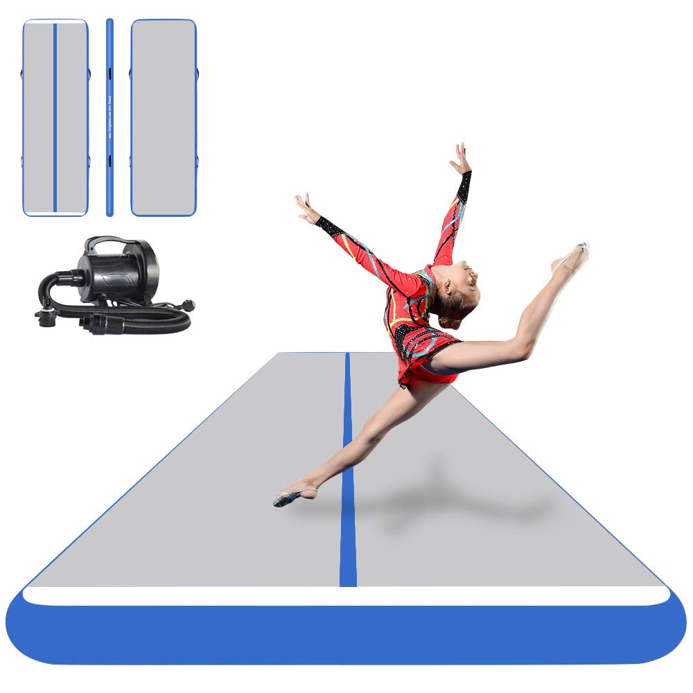 Grey blueee 50ft x 6.6ftW x 8inH Ibigbean Inflatable Air Track Gymnastics Tumbling Equipment Mats  for Cheerleading, Gymastics Training, Beach, on Water(8 inch Thick)