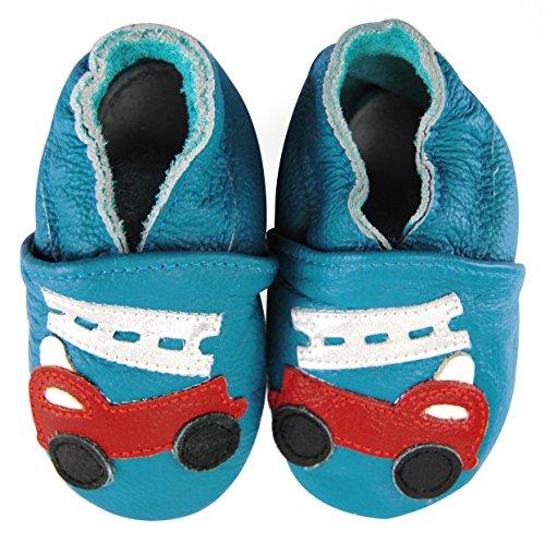 axy Baby Lederschuhe Lauflernschuhe Krabbelschuhe Babyschuhe Kindergartenschuhe - Feuerwehrauto