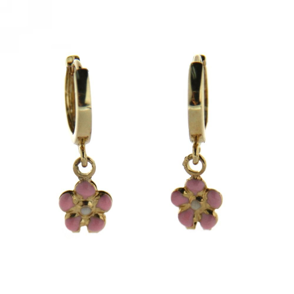 Flower 5mm//Huggie 10mm// Total Length 20mm 18 Kt yellow gold huggie with pink enname flower