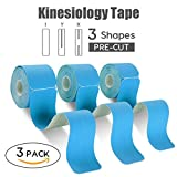 FriCARE Pre-cut Kinesiology Sport Tape (3 Roll Pack), X Y I Shape, 16ft Athletic Kinetic Strip Aid, Breathable, Water Resistant, Pain Relief Adhesive for Muscles, Shin Splints, Knee&Shoulder