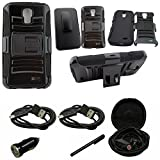Mstechcorp - [Heavy Drop Protection] For ZTE Rapido 4G LTE Z932 (Straight Talk), Belt Clip Holster Attached Protective Case - Includes [Hands Free Earphone With Carrying Case] + [Touch Screen Stylus] + [Car Charger 2 Data Cable] (H BLACK)