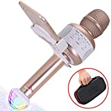 Wireless Bluetooth Karaoke Microphone - Portable KTV Karaoke Machine with Speaker + FREE USB Disco Ball Light & Phone Holder Perfect for Pop, Rock n' Roll Parties, Solo Parties & More (E106 2.0 Gold)
