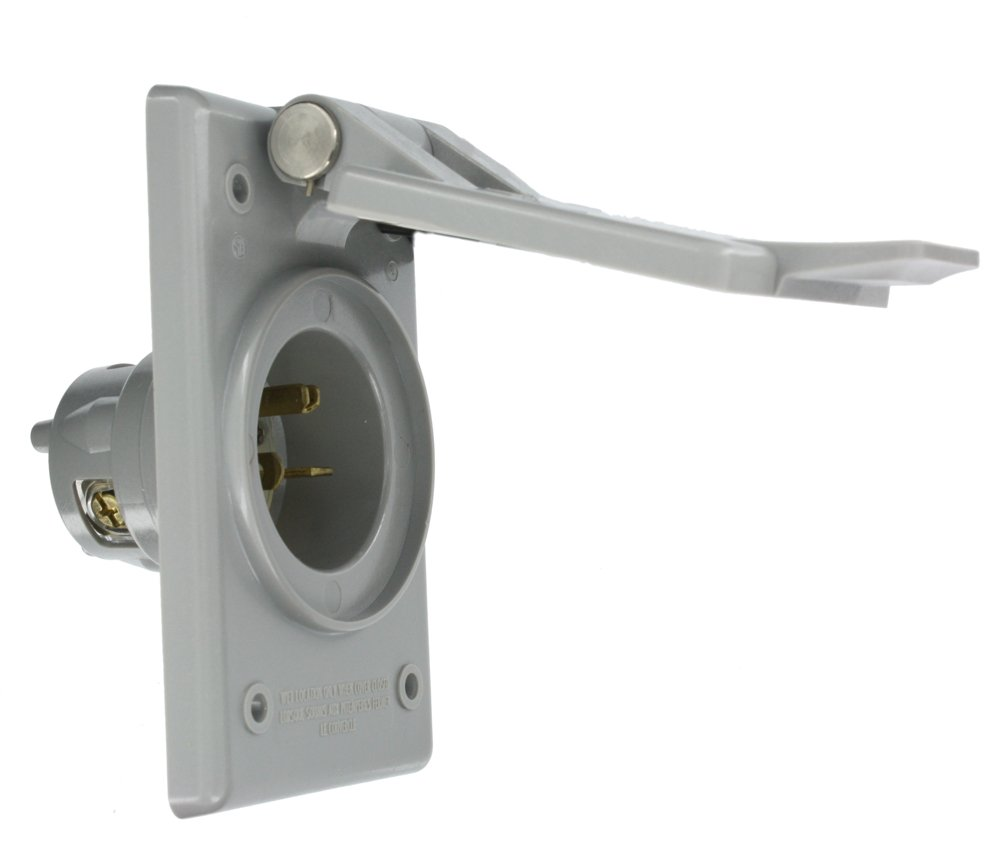 Leviton 5478-CWP 20 Amp, 250 Volt, Power Inlet Receptacle, Straight Blade, Industrial Grade, Grounding, Gray
