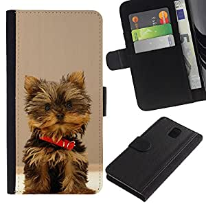 KingStore / Leather Etui en cuir / Samsung Galaxy Note 3 III / Peludo perro Yorkshire Terrier Small Brown