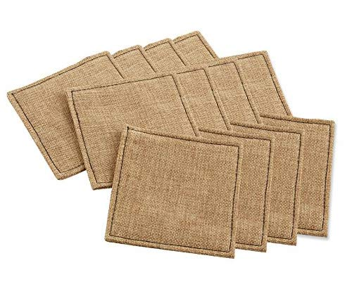 (Cotton Craft - 12 Pack Jute Reversible Coasters - Natural - 4 Inches Square - Made from 100% Eco-friendly Natural Jute - Sewn edges for a clean and tailored finish)