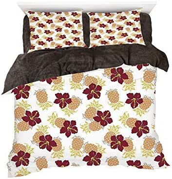 Homenon Hibiscus and Pine Flower Tropical Fruits Garden Leaf Hawaiian Cheerful Design Art,3D Printed in Flannel Duvet Cover Set,Decorated on a 6ft Bed,4 Piece Bedding Set,King Size,Multicolor
