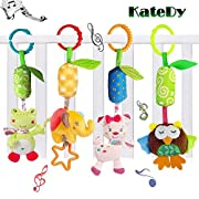 Katedy Toy 4 Packs Rattle Cat Seat Hanging Bell for Newborn Toddlers Playing Handbells Use for Baby Car Crib Stroller Adorable Animal Wind Chime for Tag Along Travel