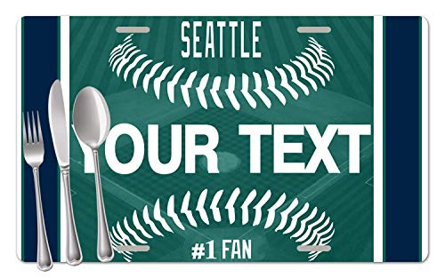 (BRGiftShop Personalized Custom Name Baseball Team Seattle Set of 4 Table Placemats)