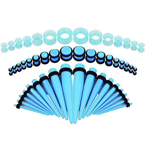 Bodystars Ear Gauges Stretching Kit - 50Pcs Acrylic Tapers and Plugs Silicone Tunnels Set, Prefect for Punk, Rock, Street or Daily (Blue) (Cheap Ear Stretching Kit)