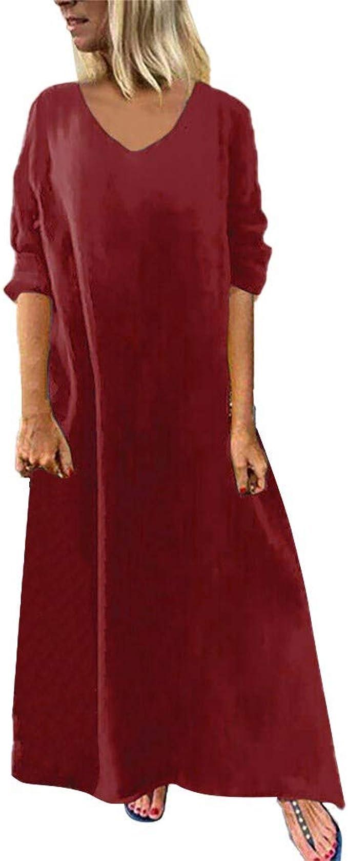 TIFIY Damen Kleid Damen Sexy Loose Solid Langarm V-Ausschnitt