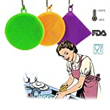 Silicone Dish Scrubber Kitchen Tool 3 Pieces for Cleaning Dishes, Antibacterial, Food-Grade, Mildew-Free, Non Stick Dishwashing Cloth Brushes