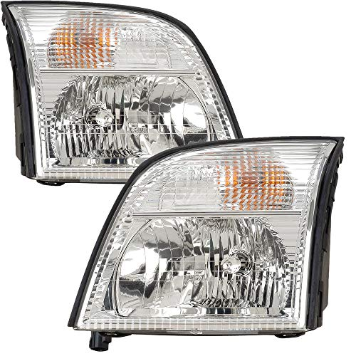 For 2002 2003 2004 2005 Mercury Mountaineer Headlight Headlamp Assembly Driver Left and Passenger Right Side Pair Set Replacement FO2502188 FO2503188 ()
