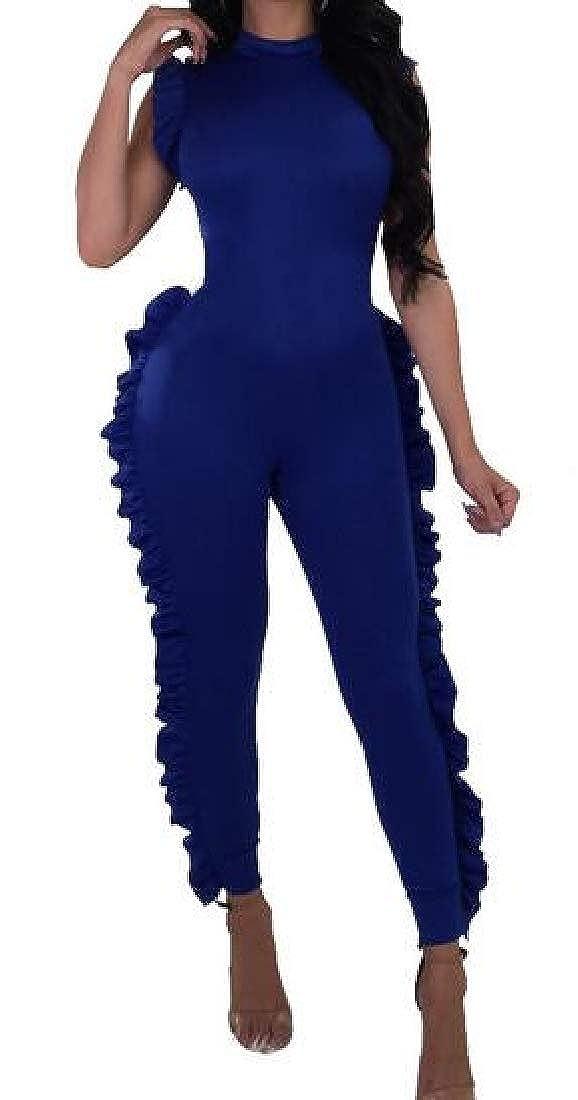 Smallwin Womens Sleeveless Deep V Neck//Crewneck Ruffles Long Rompers Jumpsuits