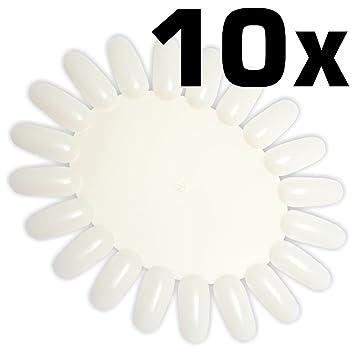 10 Stück Präsentationsdisplay / Farbrad / Tip-Rondell natur mit je ...