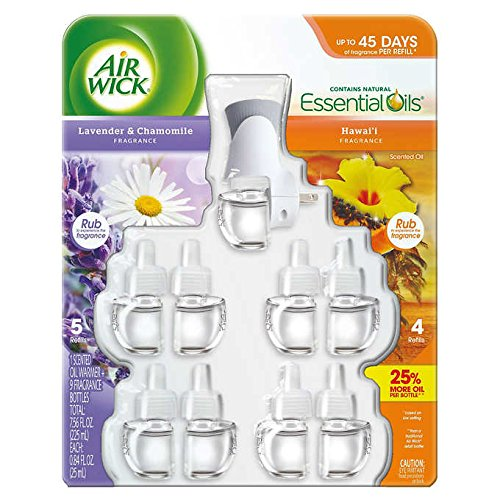 Air Wick scented oil plug in with 9 additional refills , Hawai'i Fragrance and Lavender & Chamomile
