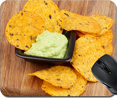 MSD Mousepad Mouse Pads/Mat design 24933306 Arrangement of Tortilla Chips and Guacamole Sauce in Black Bowl closeup on Wooden - For Tortis Sale