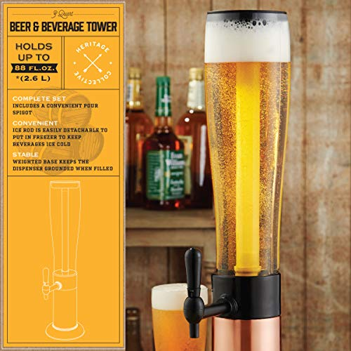 Refinery Beer Tower Drink Dispenser with Pro-Pour Tap and Freeze Tube to Keep Beverages Ice Cold, Perfect for Parties and Gameday, Home Bar Accessories, Simple to Clean, 2.75 Qt./2.6 L, Copper Finish by Refinery (Image #1)