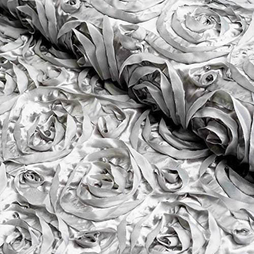Mikash 54 Wide x 12 feet Raised Roses Fabric Bolt Wedding Party Decorations Wholesale | Model WDDNGDCRTN - 9368 |