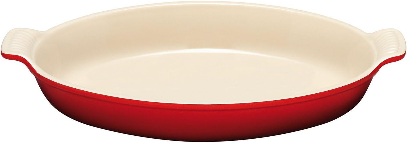 Le Creuset PG0400-3667 Heritage Stoneware Oval Au Gratin Dish, 3.1-Quart, Cerise