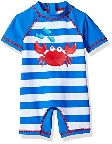 Little Me Children's Apparel Baby and Toddler Boys UPF 50+ Rashguard Suit, Crab, 18 Months