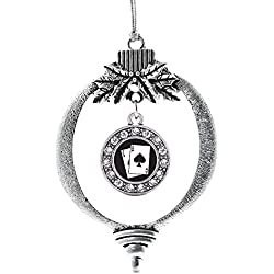 Inspired Silver Black Jack Circle Holiday Decoration Christmas Tree Ornament
