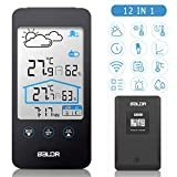 FYLINA Weather Station,12-in-1 Professional Wireless Forecast Station with Temperature and Humidity Monitor,Alarm Clock