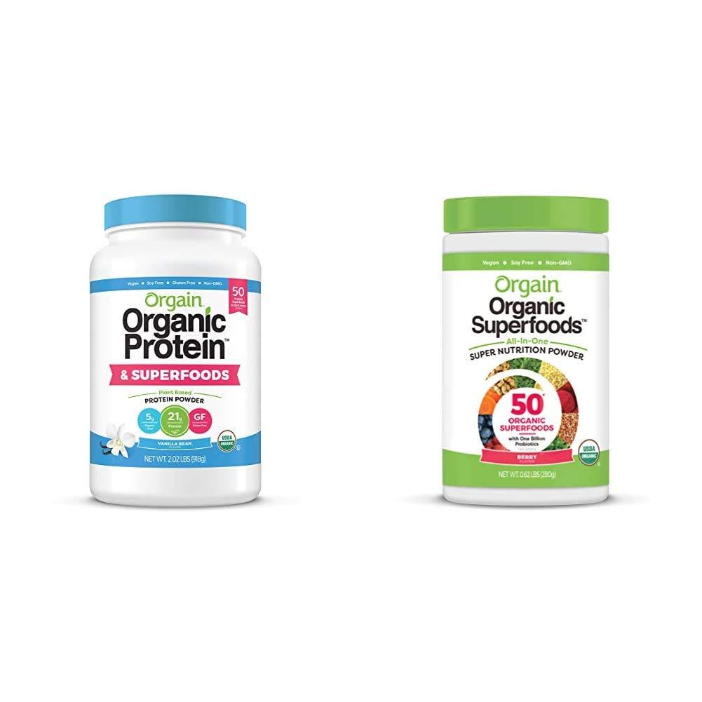Orgain Organic Plant Based Protein + Superfoods Powder, Vanilla Bean - 2.02 lb & Organic Green Superfoods Powder, Berry -Antioxidants, 1 Billion Probiotics, Vegan, Dairy Free, Gluten Free, 0.62 Pound