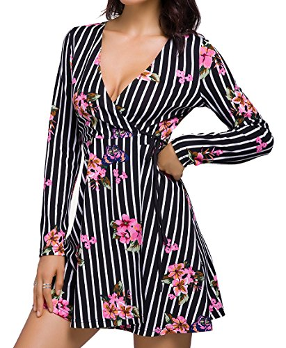 Chifave Women's Casual Long Sleeve V-Neck Split Floral Wrap Flowy Swing Skater Tea Dress