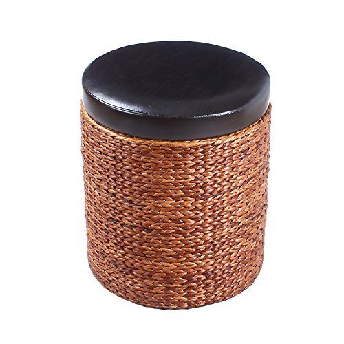 ELEGAN Faux Leather Top Lid Storage Ottoman Bench Chair with Bulrush Weave (Cylinder)