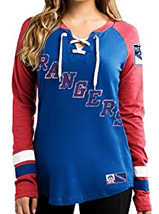 "New York Rangers Women's NHL Majestic ""Hip Check"" Lace Up V-Neck Shirt"