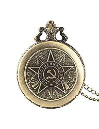 Soviet Communist Badge Pocket Watch, Bronze Quartz Fob Pocket Watch, Sickle Hammer Pattern Gift for Men