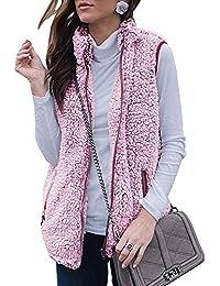Women's Sleeveless Zip Up Fuzzy Fleece Lightweight Fall Warm Zipper Vest Pockets